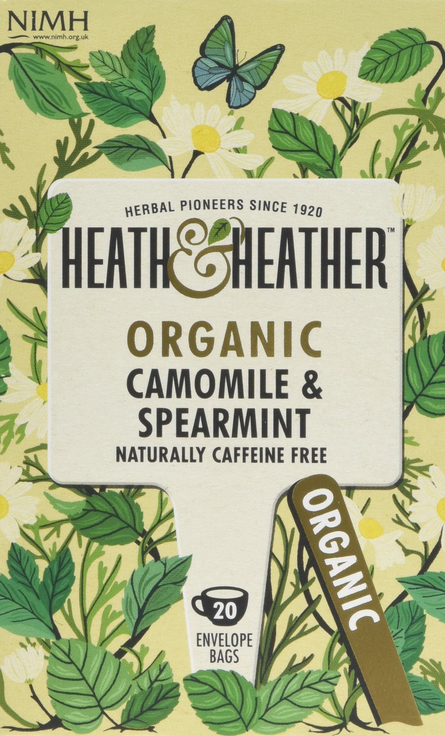 Heath & Heather organic chamomile and spearmint tea bundle (soil association) (infusions) (6 packs of 20 bags) (120 bags) (a spicy tea with aromas of camomile, spearmint) (brews in 3-5 minutes)