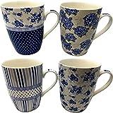 You Love A Bargain - Lot de 4 tasses en porcelaine, plusieurs designs, bien emballé, qualité supérieure - Blue Floral, Stripe