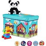 Relaxdays Zitbox kinderen, opvouwbare opbergdoos met opbergruimte, deksel, circus motief, jongens en meisjes, 50 l, turquoise