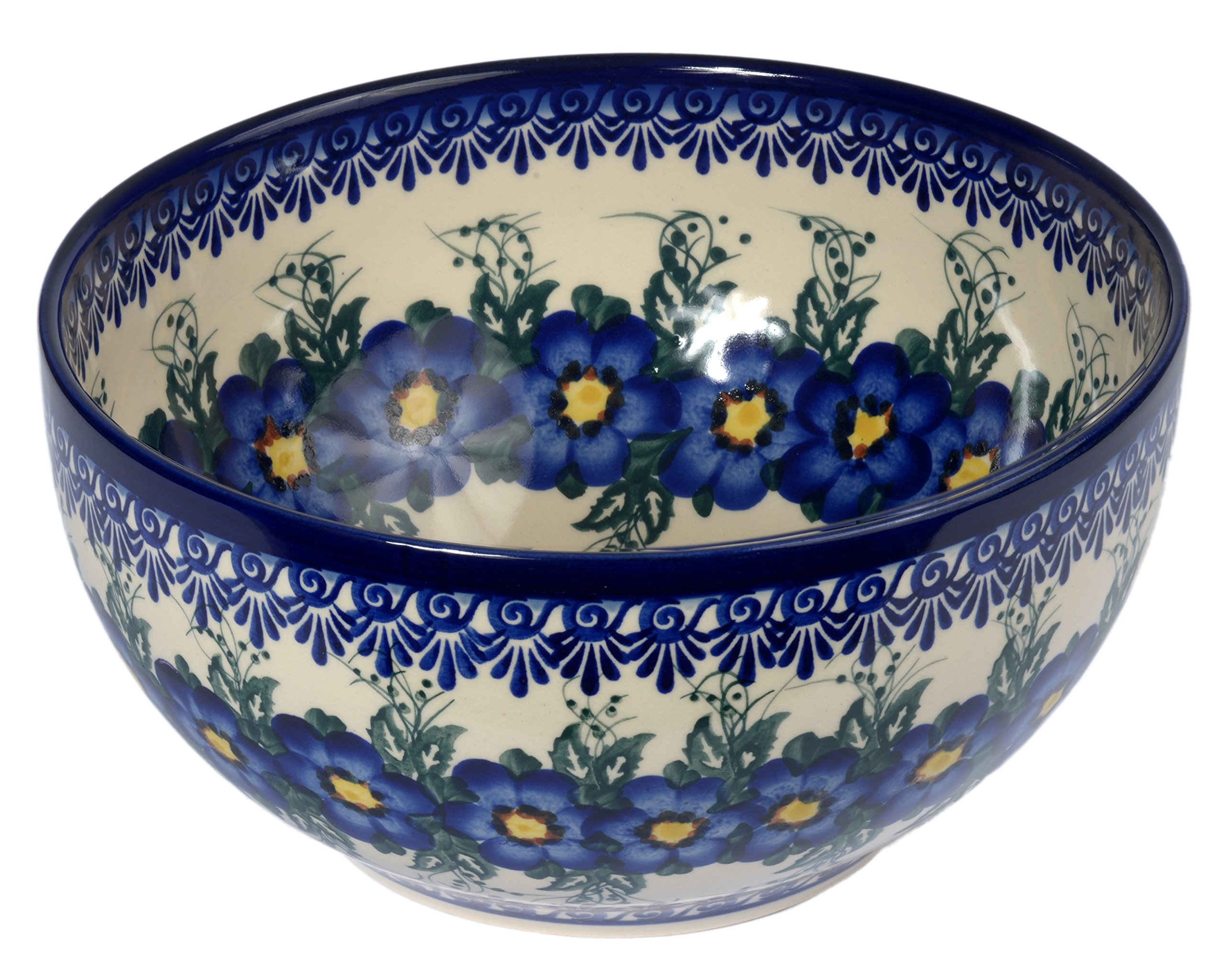 Traditional Polish Pottery, Handcrafted Ceramic Salad or Fruit Bowl 2.8l (d.24cm), Boleslawiec Style Pattern, M.705.Pansy