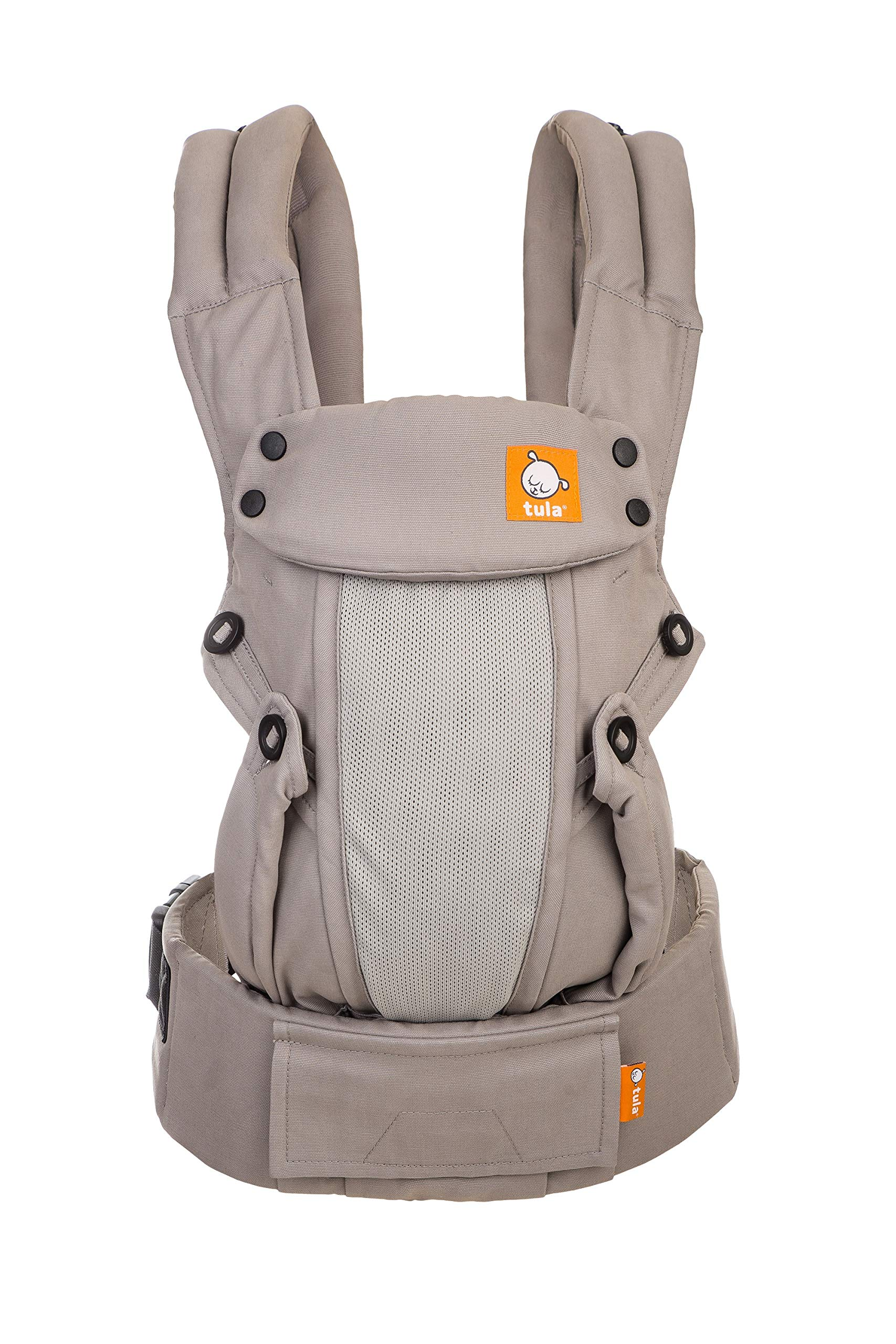 Baby Tula Coast Explore Mesh Baby Carrier 7 - 45 lb, Adjustable Newborn to Toddler Carrier, Multiple Ergonomic Positions Front and Back, Breathable - Coast Overcast, Light Gray with Light Gray Mesh Tula STAY COOL MESH CARRIER PANEL: Large mesh panel provides extra ventilation for optimal breathability to keep wearer and baby cool. BREATHABLE & LIGHTWEIGHT MATERIAL: Soft and lightweight 100% cotton with a large breathable mesh panel and hood that's easy to clean and machine washable. EVERY CARRY POSITION YOUR BABY WILL NEED, INCLUDING FACING OUT: Multiple positions to carry baby including front facing out*, facing in, and back carry. Each position provides a natural, ergonomic position best for comfortable carrying that promotes healthy hip and spine development for baby. 1