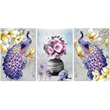 SND Art Set of 3 Large UV Texture Multi Effect 6 MM MDF Framed Wall 3D Paintings for Living Room Wall Paintings for Home Deco