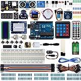 Miuzei Startpaket kompatibelt med Arduino Projects LCD1602-modul, brödbräda, servo, 9 V 1 A strömförsörjning, sensorer, lysdi