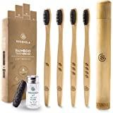 Cepillo de Dientes de Bambú de Greenzla (4 Paq.) con estuche de viaje y seda dental de carboncillo - Cepillos de dientes natu