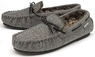 Dunlop - Pantofole da uomo in finta pelliccia foderate in memory foam, misure 30-45