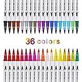 Pennarelli Acquarelli Colore Brush Pen Doppio 36 Pezzi con Punta Fine da 0,4 mm e Punta Brush, Acquerellabili Pennelli da Pit