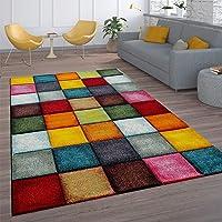 Tapis De Salon À Poils Ras Design Carreaux Coloré Carré Multicolore Coloré, Dimension:60x110 cm