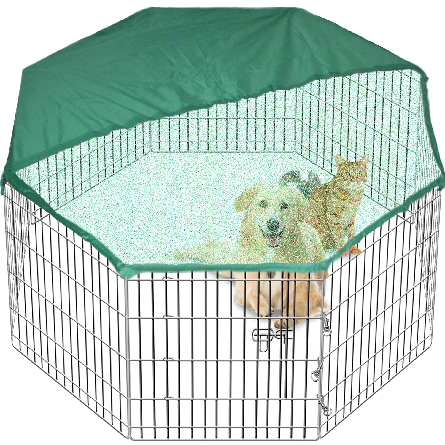 pet playpen dog puppy cage folding run fence garden crate 91cm high 8 sided tall u0026 free cover amazoncouk pet supplies