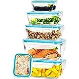 KICHLY - Recipientes de vidrio para comida - 12 piezas (6 envases, 6 tapas de cierre) - Apto para lavavajillas, microondas y