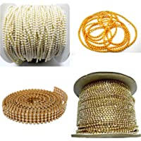 Jewellery Making Chains & Stone lace Combo Set- Pack of 4 Items