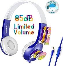 Mimoday Kinder Kopfhörer Begrenzter Lautstärke mit Mikrofon für Jungen und Mädchen iPad iPhone Kindle Fire Tablet Smartphones-Blau