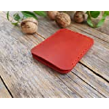 Red leather credit card wallet. Case, cash or ID holder. Rustic style unisex pouch
