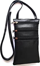 Yela Women's Mobile Sling Passport Sling Black Faux Leather for Daily Use or Travel