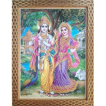 Shree Handicraft Religious 'RADHA KRISHNA' Painting with Frame Lord