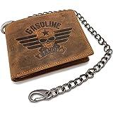 Portafoglio vintage da motociclista, piccolo, originale GASOLINE BANDIT, in vera pelle, con catena