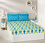 Amazon Brand - Solimo Kaleidoscope Dreams 144 TC 100% Cotton 1 Double Bedsheet with 2 Pillow Covers, Green and Blue