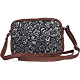 ZOUK Sling Bag for women - Handmade Bags for Females - Vegan Leather and Indian Fabric Slings - Side Bags for Mobile Phones a