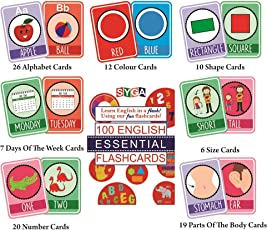 SYGA English Essential Flash Cards 100 Cards for Kids Child to Learn English Cards