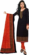 Miraan women's Cotton Unstitched Printed Dress Material(SGPRI628_Black_Free Size)