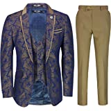 Mens Grooms 3 Piece Wedding Suit Vintage Gold Paisley Print on Navy Smart Classic Tailored Fit