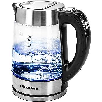 Ultratec 331400000252 Bluevita200 LED Bollitore dell'Acqua con Regolazione Della Temperatura, 2200 Watt, 1.8 Litri, Acciaio Inox/Vetro
