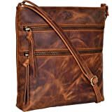 Amazon Brand - Eono Umhängetaschen für Damen - Verstellbare Umhängetasche und Reisetasche aus echtem Leder (Cognac Crazy Hors
