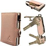Portafoglio Donna Piccoli Pelle Rosa Schermato RFID NFC Protection Specchio Trucco Porta Carte Di Credito Portamonete Porta T