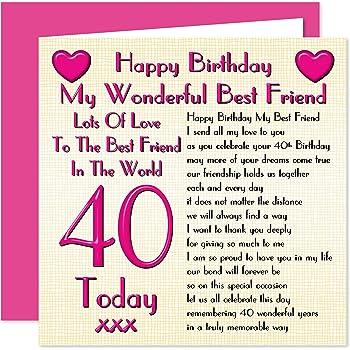 Best Friend 40th Happy Birthday Card