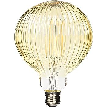 LightED Bombilla LED Globo Estriado E27, 6 W, Dorado 125 x 175 mm