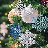 Naler 24 Adornos Plásticos de Copo de Nieve para Decoración de Árboles de Navidad Colgantes con Purpurina 4 Colores