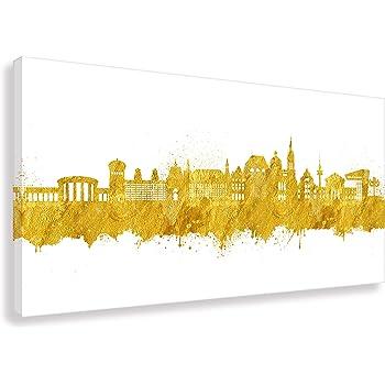 Kunst Druck auf Leinwand - Skyline Aachen (Div. Größen