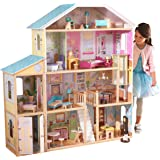 KidKraft 65252 Majestic Mansion Puppenhaus aus Holz mit Zubehör für 30cm große Puppen mit 34 Accessoires und 4 Spielebenen