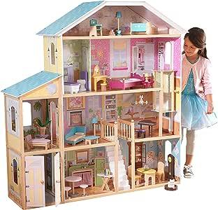 KidKraft 65252 Casa delle Bambole in Legno Majestic Mansion per Bambole di 30 Cm con 34 Accessori Inclusi e 4 Livelli di Gioco