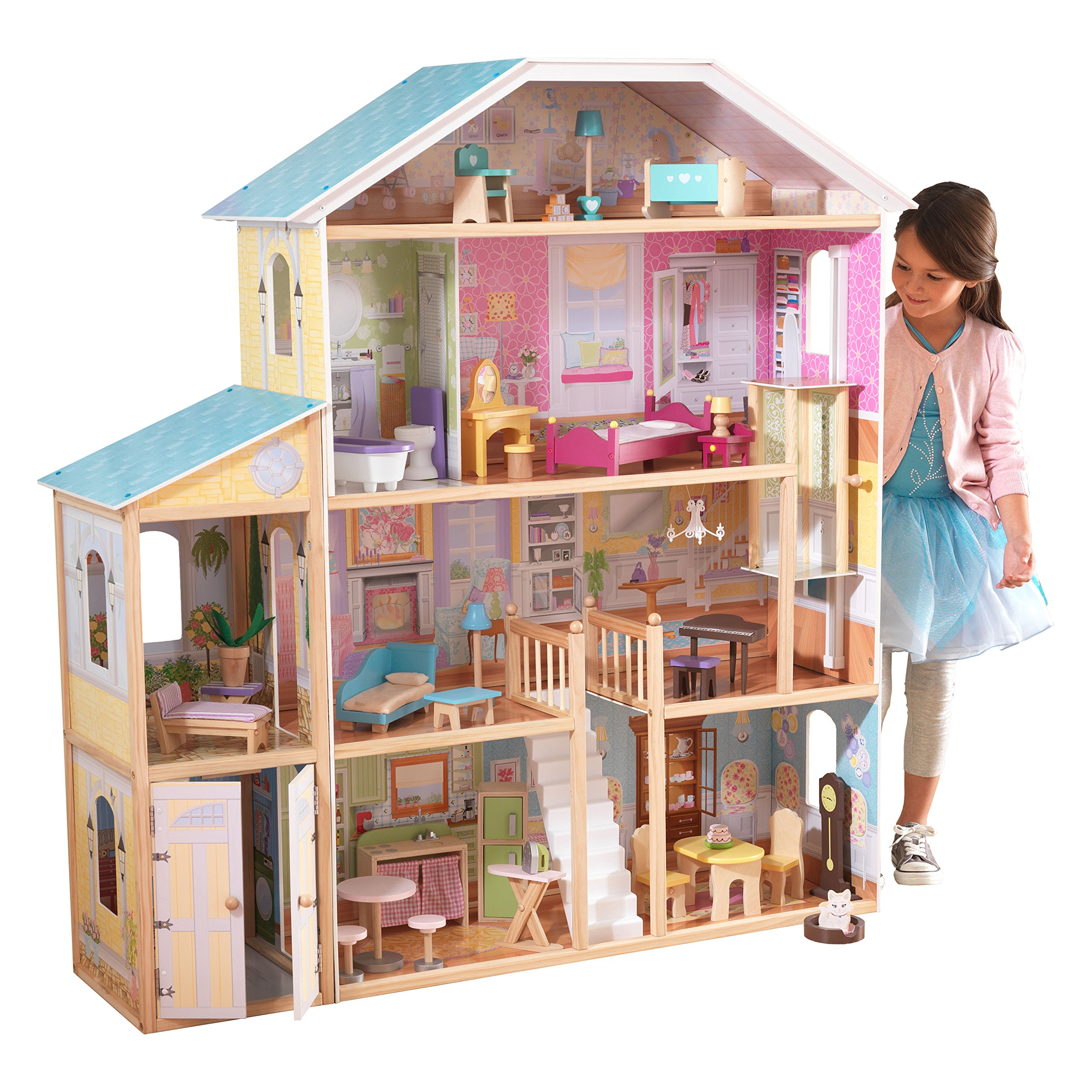 KidKraft- Majestic Mansion Casa de muñecas de madera con muebles y accesorios incluidos, 4 pisos, para muñecas de 30 cm , Color Multicolor ( 65252 )