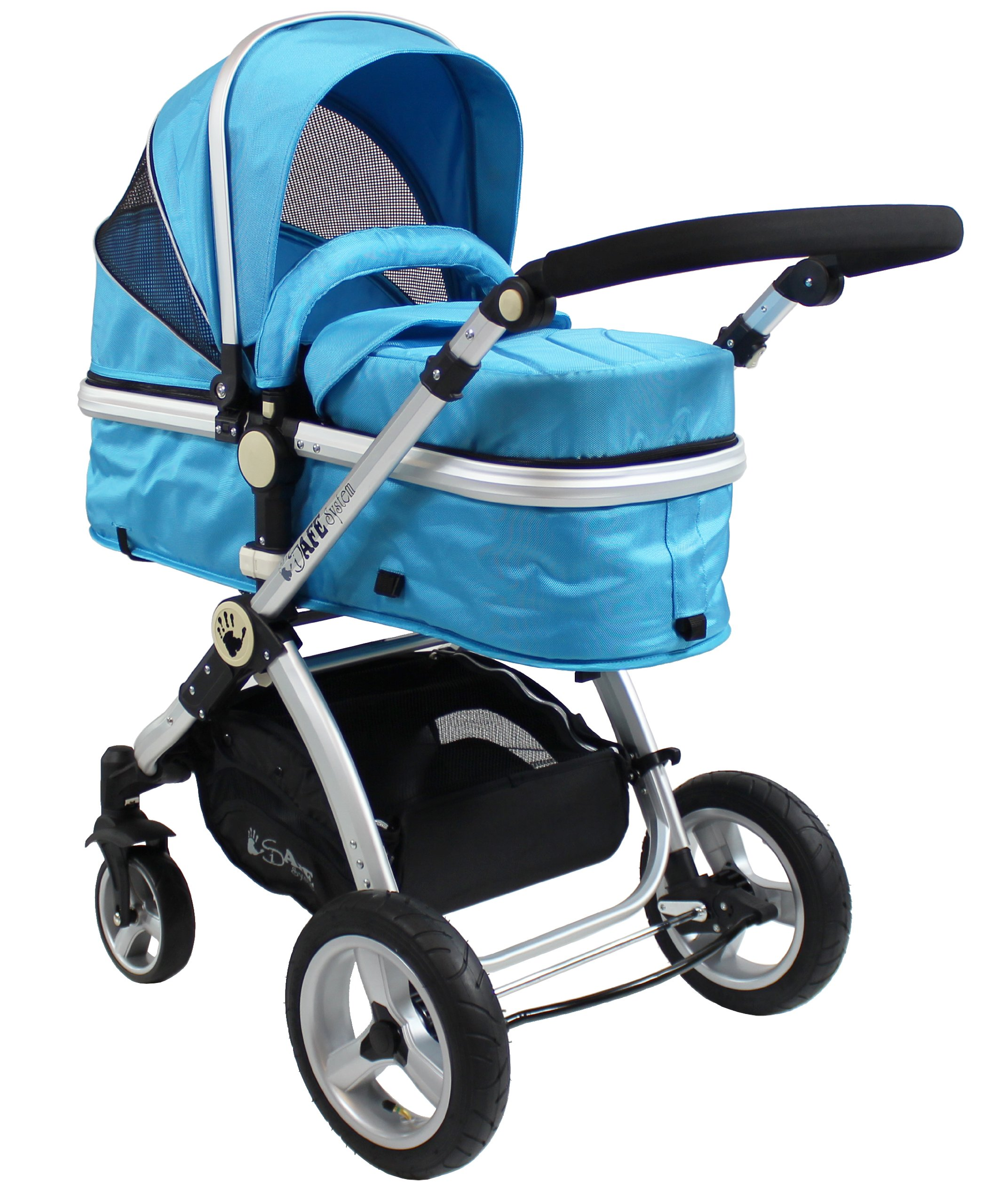 iSafe 2 in 1 Baby Pram System Complete (Ocean) iSafe We Are Proud To Present One Of The Finest 2in1 Stroller/Pram/Pramette/Travel System in the UK & Europe! 2 in 1 Stroller / Pram Extremely Easy Conversion To A Full Size Carrycot For Unrivalled Comfort. Complete With Boot Cover, Luxury Liner, 5 Point Harness, Raincover, Shopping Basket With Closed Ziped Top High Quality Rubber Inflatable Wheels With The Full All around Soft Suspension For That Perfect Unrivalled Ride 7