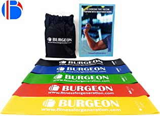 Resistance Band Set of 5 with Physical Booklet with 40 Plus Exercises,Resistance Mini Loop Bands, Exercise Band, Resistance Bands for Heavy Workout, Rehab,Improved Mobility by Burgeon™.