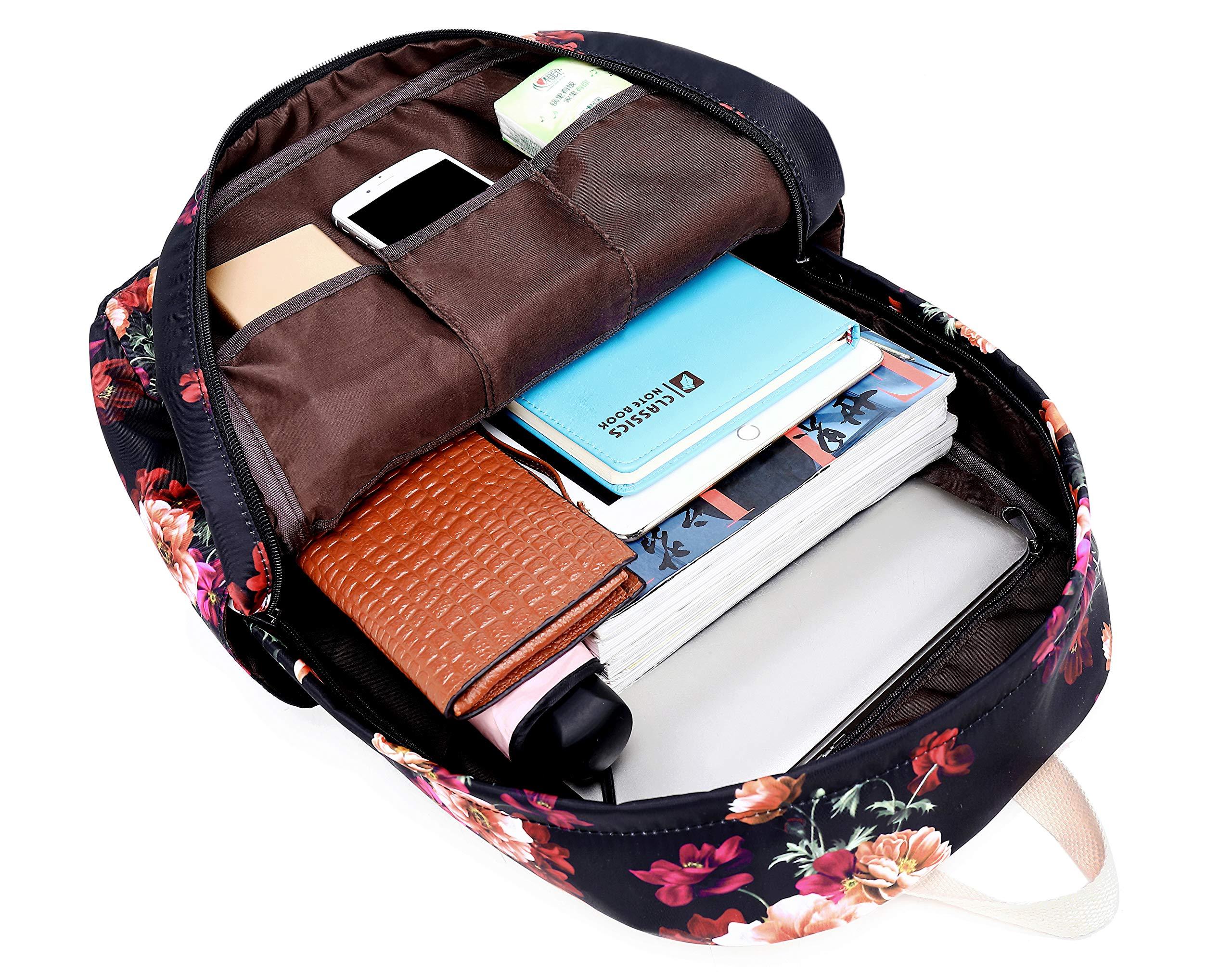 91jMO6XlKGL - Joymoze Set de Bolsos para Libros con Bolsa Escolar Linda y Ligera, Bolso con Asas para el Almuerzo y Estuche Cerezo…