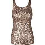 PrettyGuide Donne Shimmer Glam Paillettes Impreziosito Sparkle Canotta Vest Tops