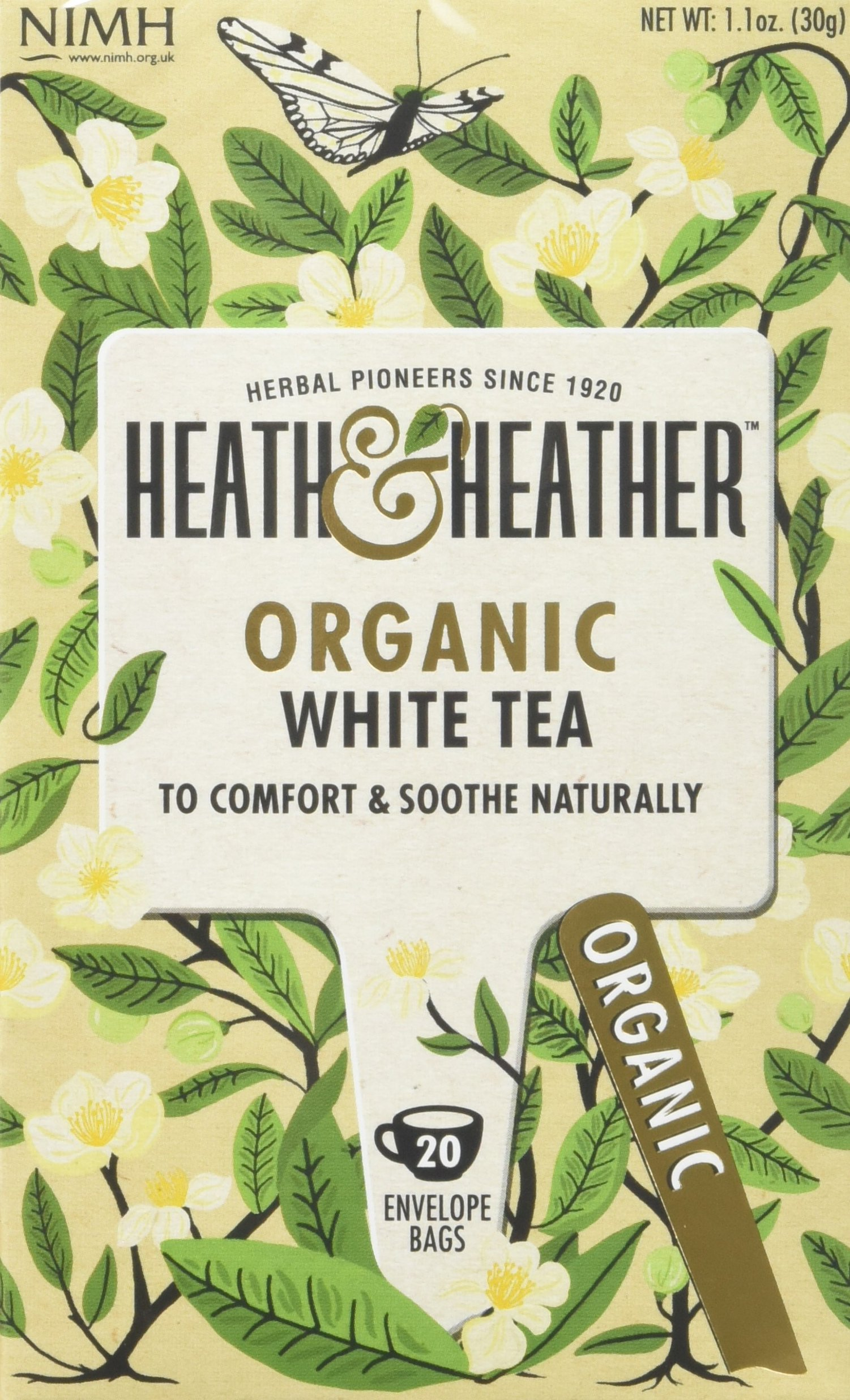 Heath & Heather organic white tea bundle (soil association) (white tea) (6 packs of 20 bags) (120 bags) (brews in 3-5 minutes)