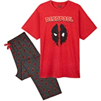 MARVEL Deadpool Pyjamas for Men, 2 Piece Mens PJs Set with Character Tshirt and Cotton Lounge Bottoms, Official Avengers…