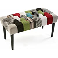 Versa Stool Bedside Bl/Gr Patchwork bench, wood and polyester Black, green, blue, gray and red, 45 x 40 x 80 cm