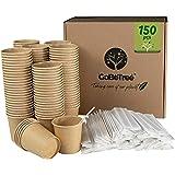 GoBeTree 150 Vasos de café Desechables Kraft con PLA para café expreso de 120 ml con agitadores de Madera en Funda de Papel p