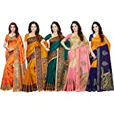 Ishin Combo of 5 Poly Silk Multicolor Printed Women's Saree.