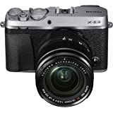 Fujifilm Mirrorless Digital Camera Bundle with 3.0  LCD, Silver  X E3 Body w/XF18 55mm Lens Kit   Silver