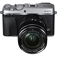 "Fujifilm Mirrorless Digital Camera Bundle with 3.0"" LCD, Silver (X-E3 Body w/XF18-55mm Lens Kit - Silver)"