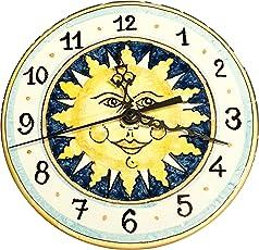 CERAMICHE D'ARTE PARRINI- Ceramica italiana artistica, orologio decorazione sole, dipinto a mano, made in ITALY Toscana