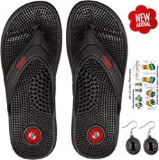 Escor Combo Kit Unisex Acupressure Slippers Sandals for Pain Relief & Total Health Care Useful for Heel Knee Leg Pain Sciatica Cramps Migraine Depression + Reflexology Chart + One Pair Earring Set -UD (8, Black)