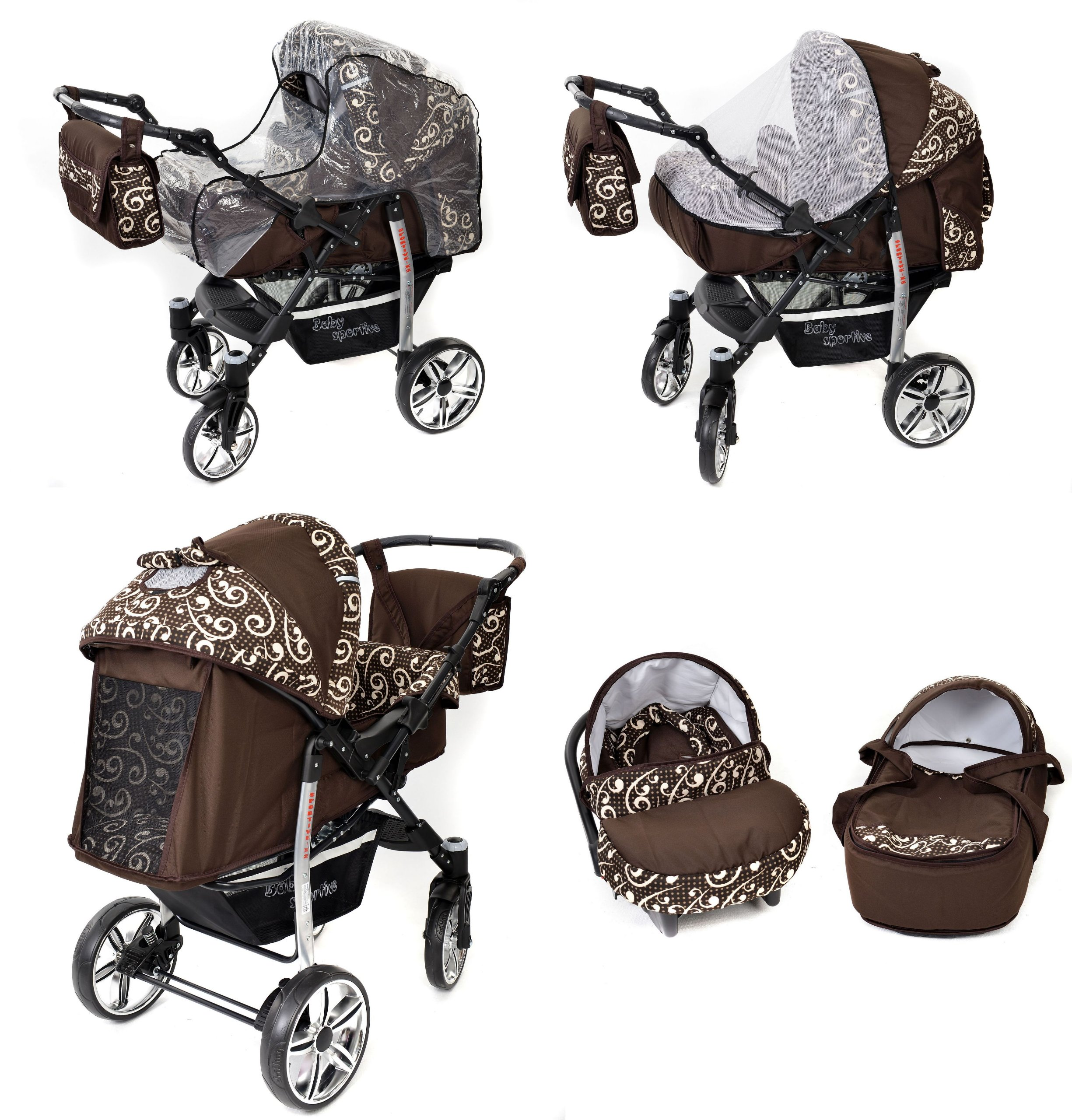 Sportive X2, 3-in-1 Travel System incl. Baby Pram with Swivel Wheels, Car Seat, Pushchair & Accessories (3-in-1 Travel System, Brown & Wawy Lines)  3 in 1 Travel System All in One Set - Pram, Car Carrier Seat and Sport Buggy + Accessories: carrier bag, rain protection, mosquito net, changing mat, removable bottle holder and removable tray for your child's bits and pieces Suitable from birth, Easy Quick Folding System; Large storage basket; Turnable handle bar that allows to face or rear the drive direction; Quick release rear wheels for easy cleaning after muddy walks Front lockable 360o swivel wheels for manoeuvrability , Small sized when folded, fits into many small car trunks, Carry-cot with a removable hood, Reflective elements for better visibility 7