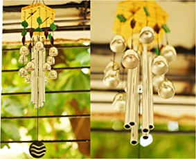 Paradigm Pictures Feng Shui Items for Home Decoration Wind Chimes for Home Positive Energy for Balcony Bedroom (Silver, 12 Bells & 6 Silver Pipes)