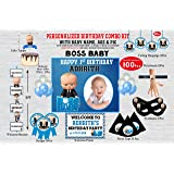 WoW Party Studio Personalized Boss Baby Theme Happy Birthday Party Decorations Supplies with Birthday Boy/Girl Name, Age & Im
